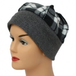 Fleece Hat Grey/Tartan