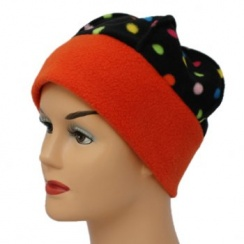 Fleece Hat Orange/Multi Coloured Polka Dot