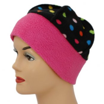 Fleece Hat Pink/Multi Coloured Polka Dot
