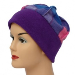 Fleece Hat Purple/Tartan