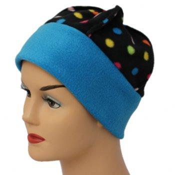 Fleece Hat Turquoise/Multi Coloured Polka Dot