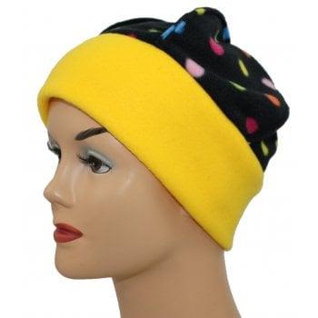Fleece Hat Yellow/Multi Coloured Polka Dot