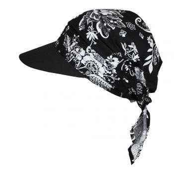 Floral Black Visor Hat