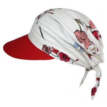 Floral Red Visor Hat