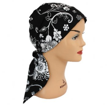 Floral White On Black Padded Cotton Head Tie Scarf