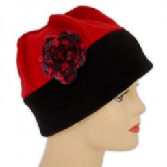 Flower Fleece Hat Black/Red