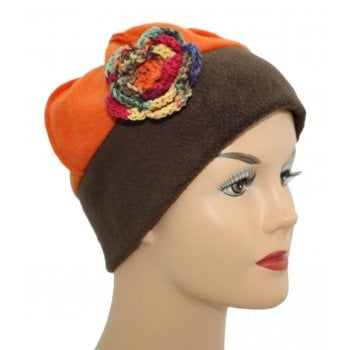 Flower Fleece Hat Chocolate Brown/Orange