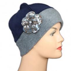 Flower Fleece Hat Grey/Navy