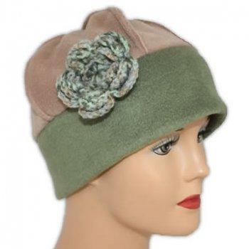 Flower Fleece Hat Olive/Camel