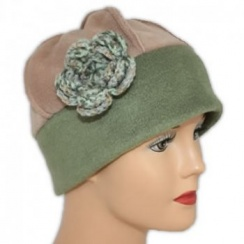 Flower Fleece Hat Olive/Camel
