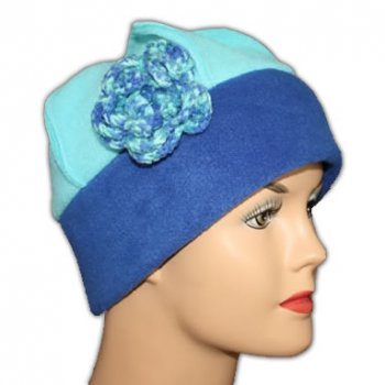 Flower Fleece Hat Royal/Aqua Blue