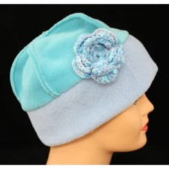 Flower Fleece Hat Sky Blue/Aqua Green