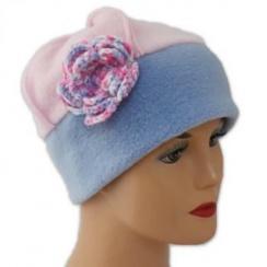 Flower Fleece Hat Sky Blue/Baby Pink