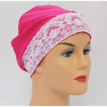 Fuschia Pink Lace Sleep Cap Lightweight 100% Cotton Jersey