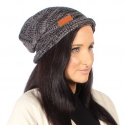 Gew Gaw Long Beanie Hat Knitted Black And Grey