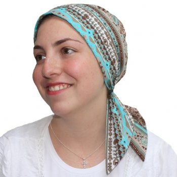 Greek Blue Padded Cotton Head Tie Scarf (Tan And Brown)