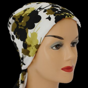 Greens And Black On White Padded Chiffon Head Tie Scarf