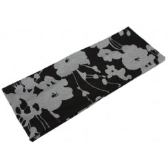 Grey Flowers On Black Jersey Extra Wide 10cm Headband