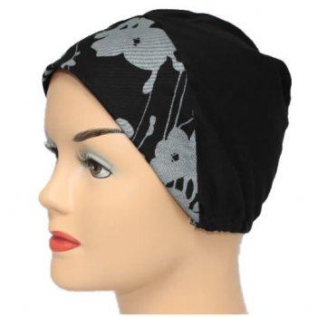 Grey Flowers On Black With Black Light Jersey Cap