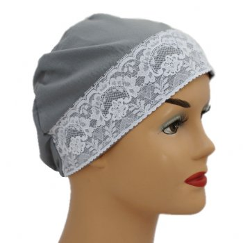 Grey Lace Sleep Cap Lightweight 100% Cotton Jersey