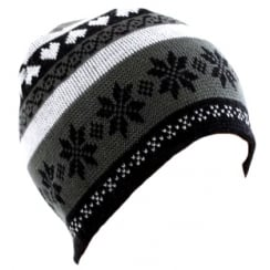 Grey Snowflake Beanie Hat