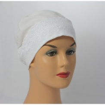 Ivory Lace Sleep Cap Lightweight 100% Cotton Jersey