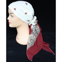 Jersey Cap Chiffon Scarf In Burgundy And Ivory Paisley Design