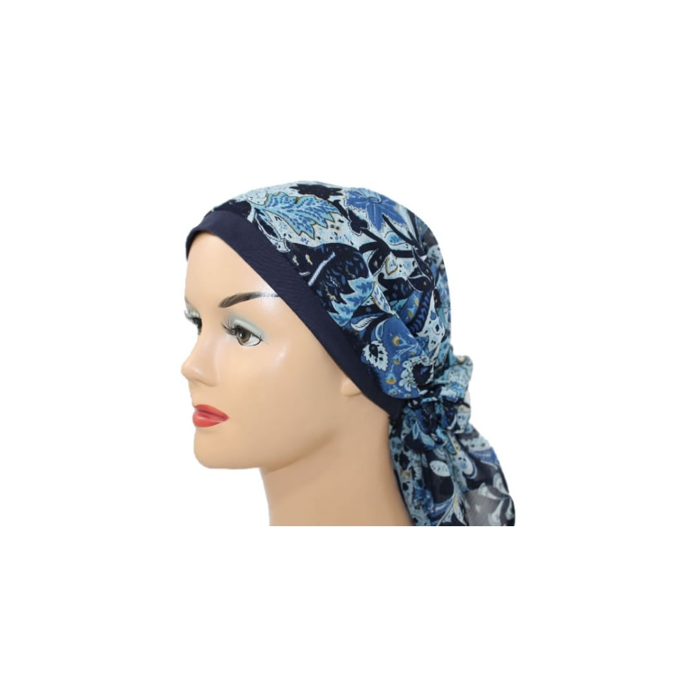 jersey cap chiffon scarf in floral shades of blue