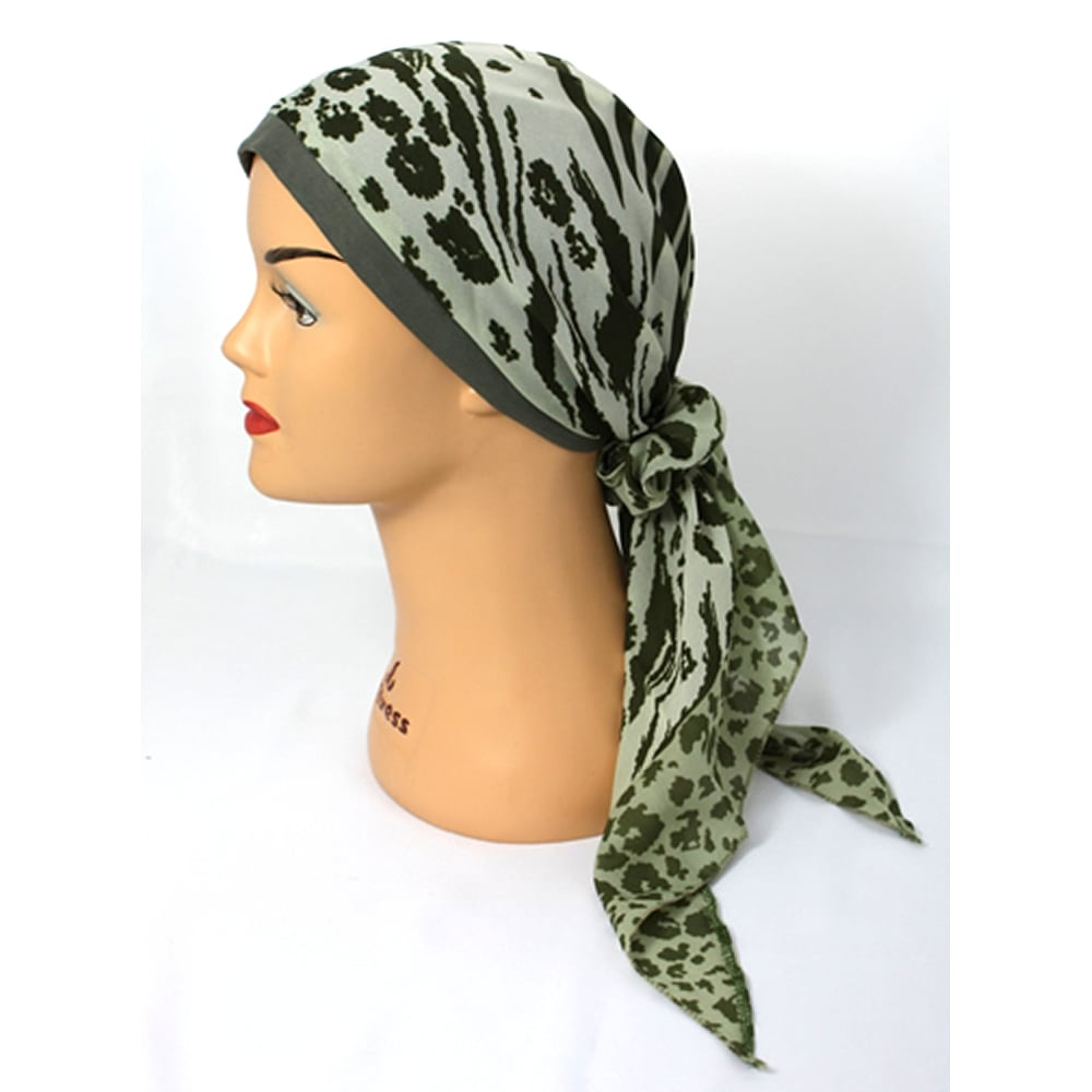 jersey cap chiffon scarf in olive and shades of green