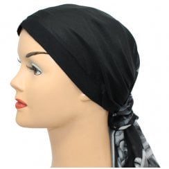 Jersey Cap Soft Cotton Scarf Black Floral