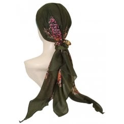 Jersey Cap Soft Cotton Scarf Green Floral