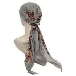 Jersey Cap Soft Cotton Scarf Grey Floral