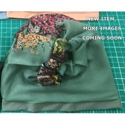 Jersey Cap Soft Cotton Scarf Olive Floral