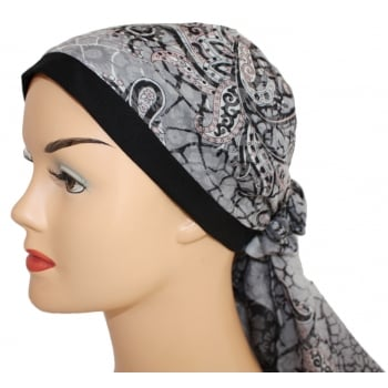 Jersey Cap Soft Cotton Scarf Paisley Black and Grey