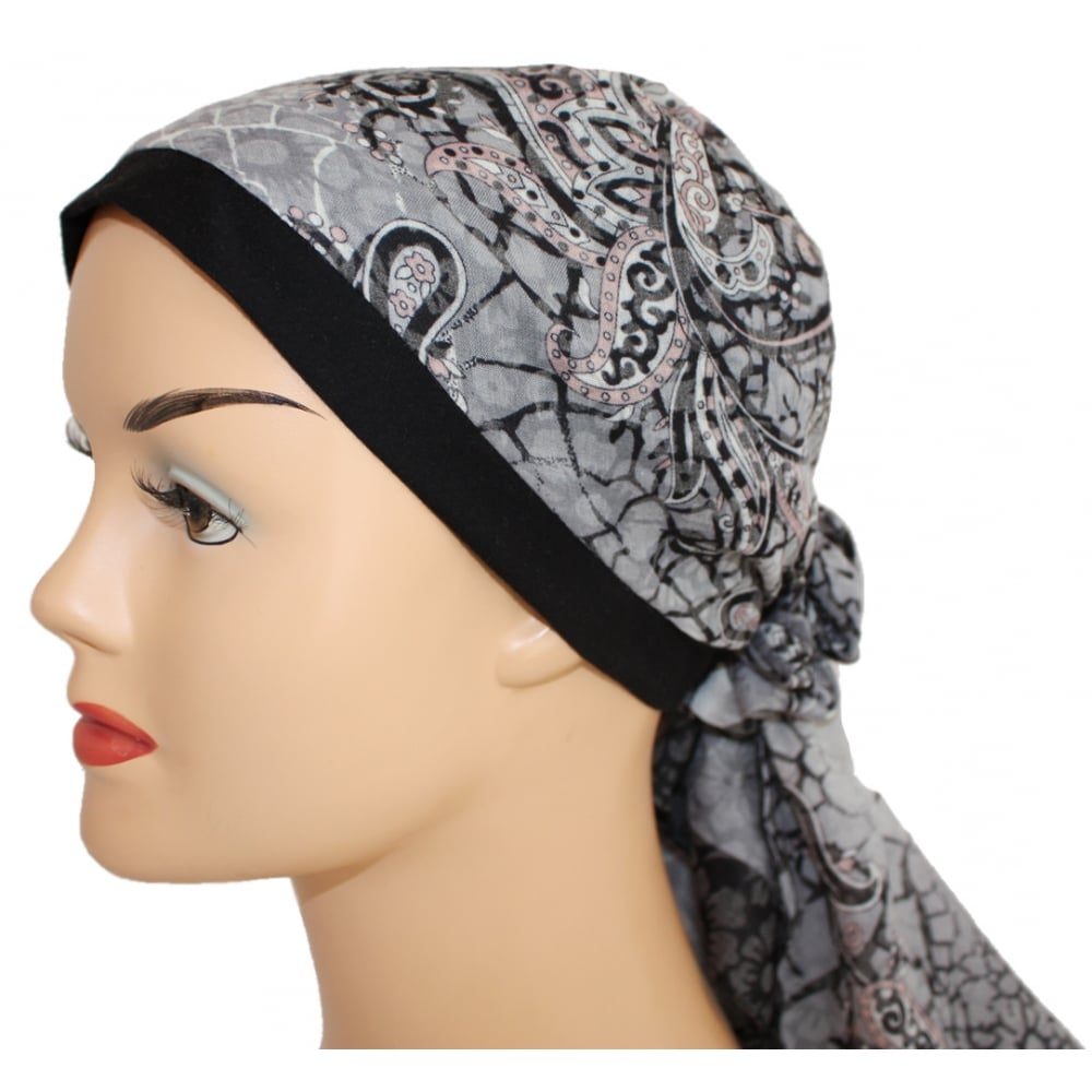 55d93b1646a Jersey Cap Soft Cotton Scarf Paisley Black and Grey - Bohemia ...