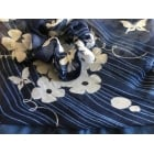 Jersey Cap Soft Cotton Scarf Paisley Floral Navy Blue