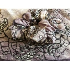 Jersey Cap Soft Cotton Scarf Paisley Plum and Lilac