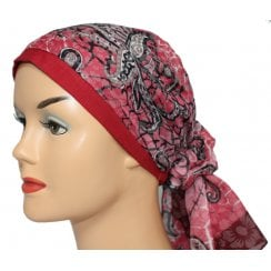 Jersey Cap Soft Cotton Scarf Paisley Vino and Pink