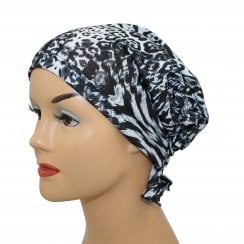 Katie Scarf in Animal Print Black and Grey