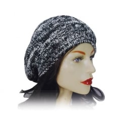 Knitted Beret Hat Black And White