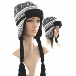 Knitted Trapper Hat (Black Grey White)