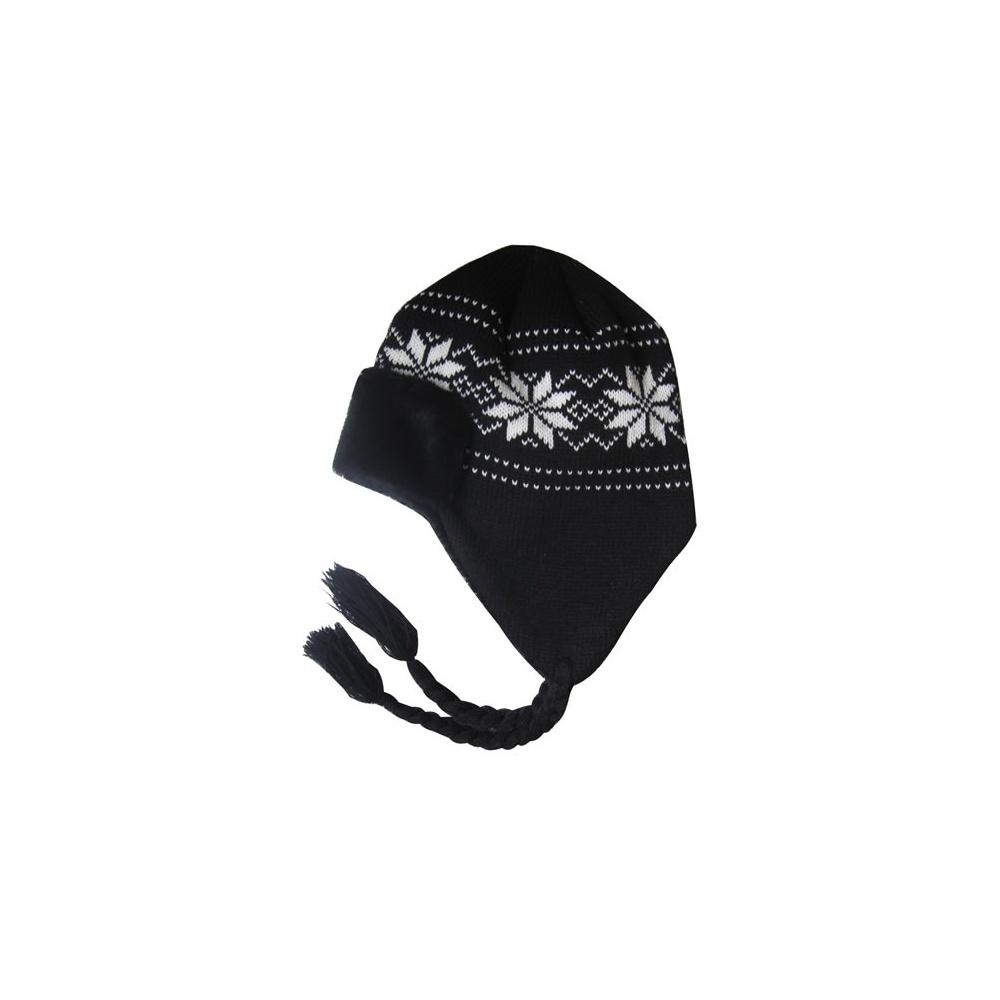 3f758590e087e2 Knitted Trapper Hat (Black White) - Winter Beanie from Bohemia Headwear UK