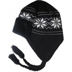 Knitted Trapper Hat (Black White)