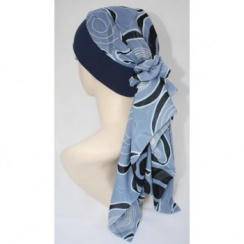 Lara Band Scarf Abstract Navy Blue