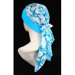 Lara Band Scarf Aqua Garden (Turquoise Blue And White)