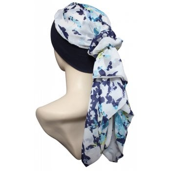 Lara Band Scarf Butterflies on Ivory/Navy Band