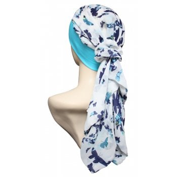 Lara Band Scarf Butterflies on Ivory/Turquoise Band