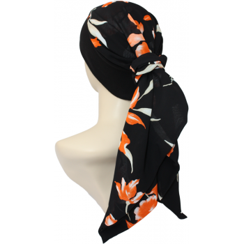 Lara Band Scarf Coral and Cream Floral on Black
