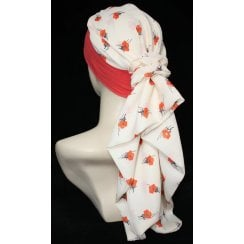 Lara Band Scarf Coral Flowers on Cream/Coral Band