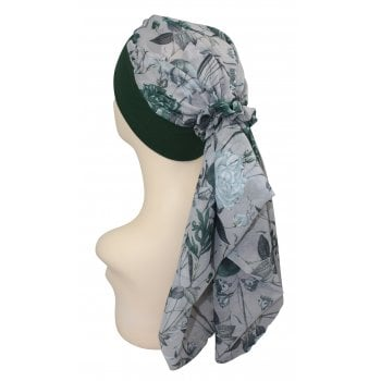 Lara Band Scarf Floral Green (Forest Green)